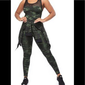 Good American The Curve Sculpt Jumpsuit Camo Sz 3